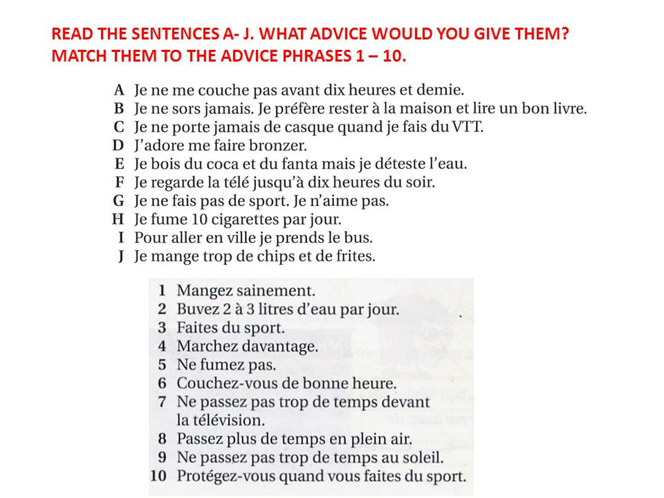 Walt Give Advice In French For A Healthy Lifestyle Wilf Understand 10 Sentences Using Imperatives For Level 4 Including Additional Tenses For Level Ppt Download