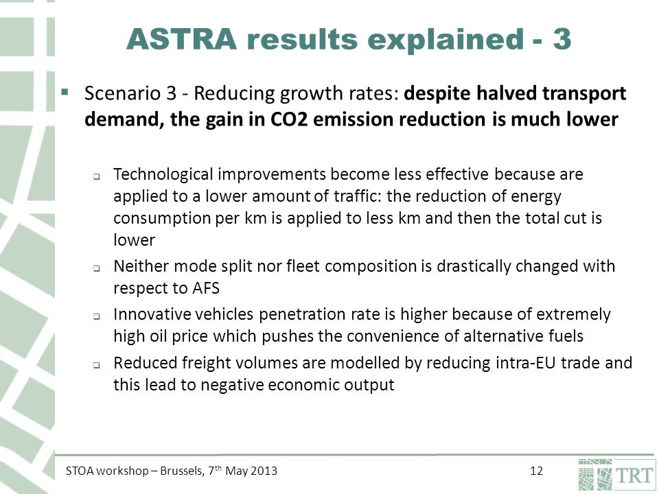 STOA workshop – Brussels, 7 th May ASTRA results explained - 3  Scenario 3 - Reducing growth rates: despite halved transport demand, the gain in CO2 emission reduction is much lower  Technological improvements become less effective because are applied to a lower amount of traffic: the reduction of energy consumption per km is applied to less km and then the total cut is lower  Neither mode split nor fleet composition is drastically changed with respect to AFS  Innovative vehicles penetration rate is higher because of extremely high oil price which pushes the convenience of alternative fuels  Reduced freight volumes are modelled by reducing intra-EU trade and this lead to negative economic output