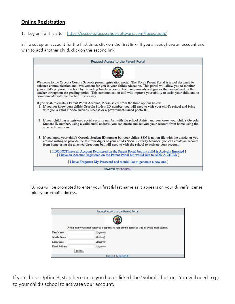 The FOCUS Parent Portal Creating A Parent Portal Account For the
