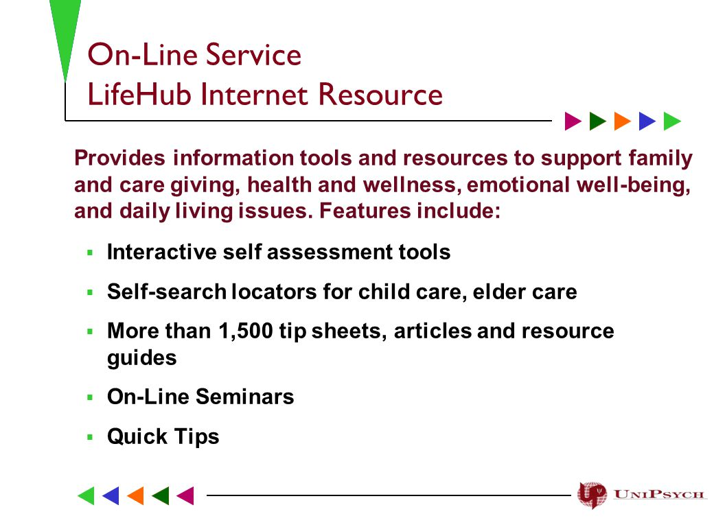 On-Line Service LifeHub Internet Resource Provides information tools and resources to support family and care giving, health and wellness, emotional well-being, and daily living issues.