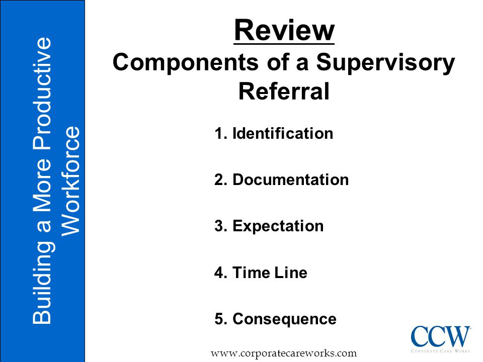 Review Components of a Supervisory Referral 1. Identification 2.