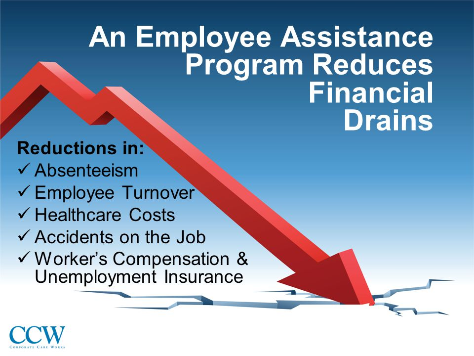 An Employee Assistance Program Reduces Financial Drains Reductions in: Absenteeism Employee Turnover Healthcare Costs Accidents on the Job Worker's Compensation & Unemployment Insurance