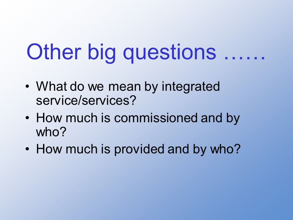 What do we mean by integrated service/services. How much is commissioned and by who.