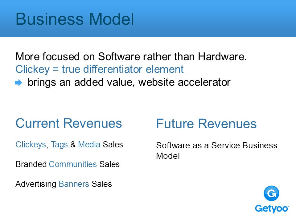 Business Model More focused on Software rather than Hardware.