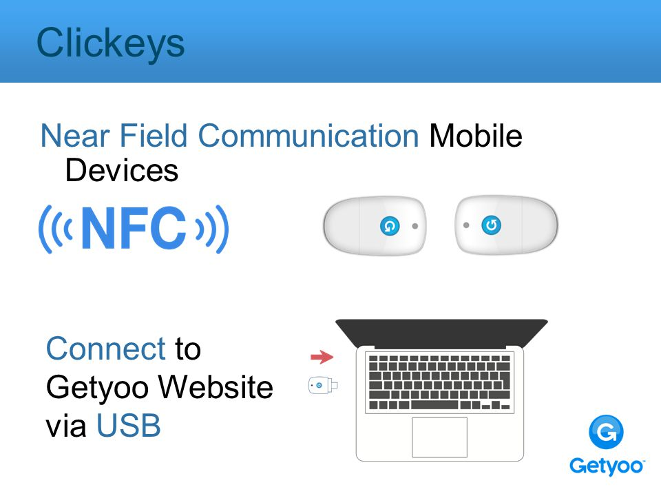 Near Field Communication Mobile Devices Clickeys Connect to Getyoo Website via USB