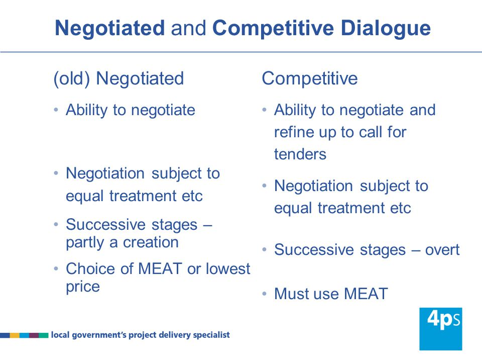 Negotiated and Competitive Dialogue (old) Negotiated Difficult to satisfy grounds for use e.g.