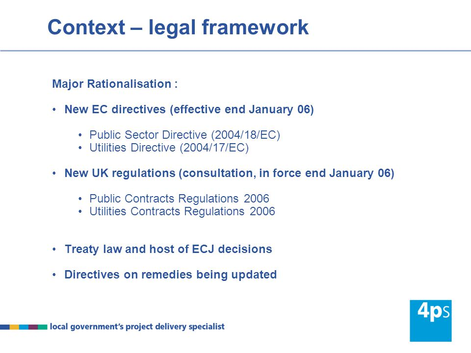 Outline of session Brief Context What's new Competitive Dialogue Main features Differences to negotiated procedure Recent case-law from the ECJ In house procurement Exempt, sub-threshold contracts and part B Cover other topics in New Year – stand still, frameworks, environmental & social considerations, timescales & electronic means