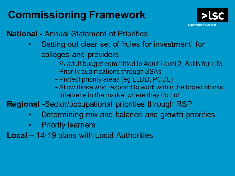 Commissioning Framework National - Annual Statement of Priorities Setting out clear set of 'rules for investment' for colleges and providers - % adult budget committed to Adult Level 2, Skills for Life - Priority qualifications through SSAs - Protect priority areas (eg LLDD; PCDL) - Allow those who respond to work within the broad blocks, intervene in the market where they do not Regional -Sector/occupational priorities through RSP Determining mix and balance and growth priorities Priority learners Local – plans with Local Authorities