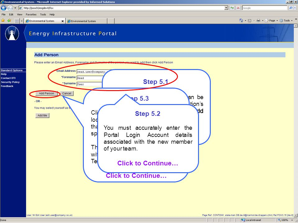 Step 5.1 New Portal Team Members can be assigned to your organisation's Portal Team Account via the Add Person screen.