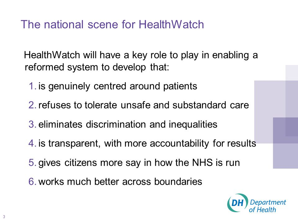 3 The national scene for HealthWatch HealthWatch will have a key role to play in enabling a reformed system to develop that: 1.is genuinely centred around patients 2.refuses to tolerate unsafe and substandard care 3.eliminates discrimination and inequalities 4.is transparent, with more accountability for results 5.gives citizens more say in how the NHS is run 6.works much better across boundaries