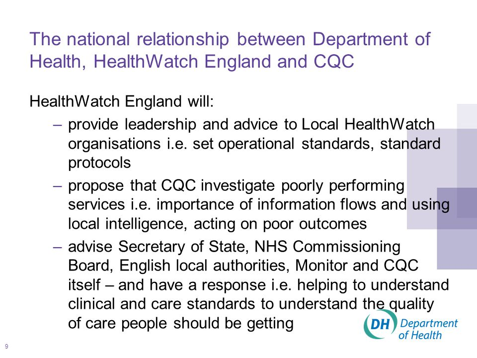 9 HealthWatch England will: –provide leadership and advice to Local HealthWatch organisations i.e.