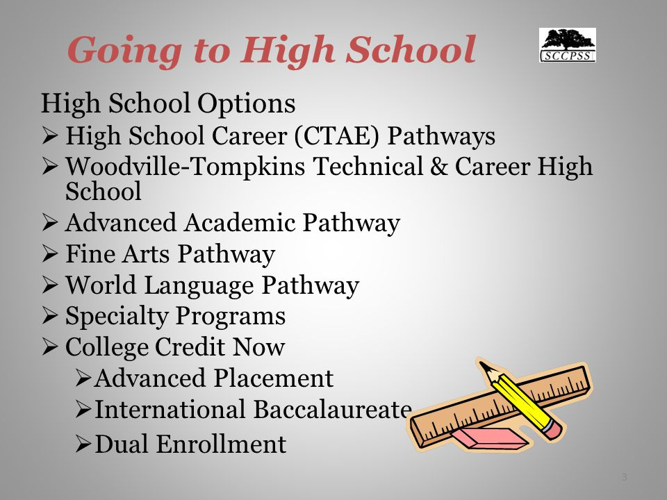 3 Going to High School High School Options  High School Career (CTAE) Pathways  Woodville-Tompkins Technical & Career High School  Advanced Academic Pathway  Fine Arts Pathway  World Language Pathway  Specialty Programs  College Credit Now  Advanced Placement  International Baccalaureate  Dual Enrollment 3