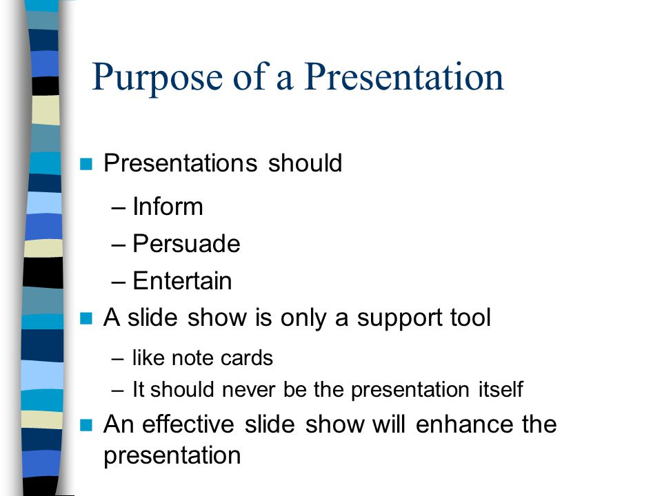 Objectives Purpose of presentations Contrast Image Use Fonts Use 7 x 7 Rule Slide Transitions & Custom Animations Other Design Tips Effective Presentation Tips