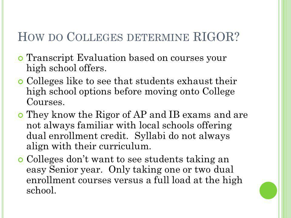 H OW DO C OLLEGES DETERMINE RIGOR. Transcript Evaluation based on courses your high school offers.