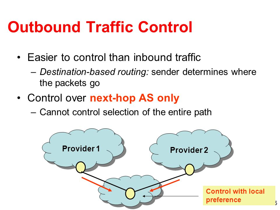 15 Outbound Traffic Control Easier to control than inbound traffic –Destination-based routing: sender determines where the packets go Control over next-hop AS only –Cannot control selection of the entire path Provider 1 Provider 2 Control with local preference