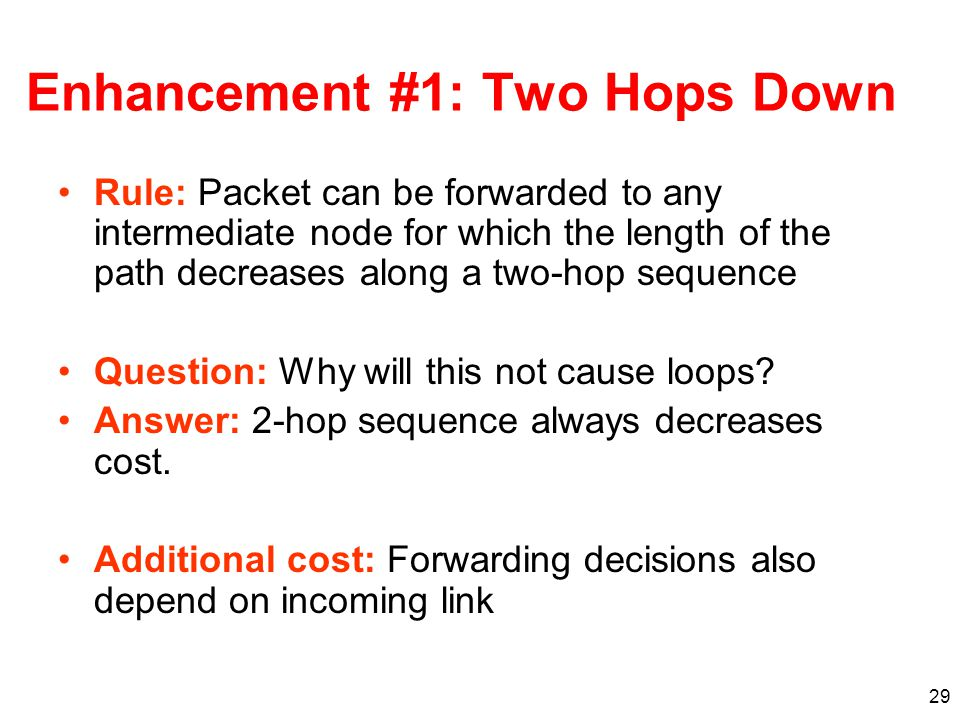 29 Enhancement #1: Two Hops Down Rule: Packet can be forwarded to any intermediate node for which the length of the path decreases along a two-hop sequence Question: Why will this not cause loops.
