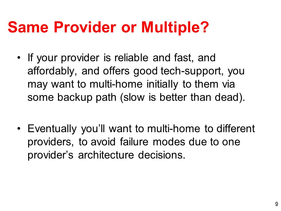 9 Same Provider or Multiple.