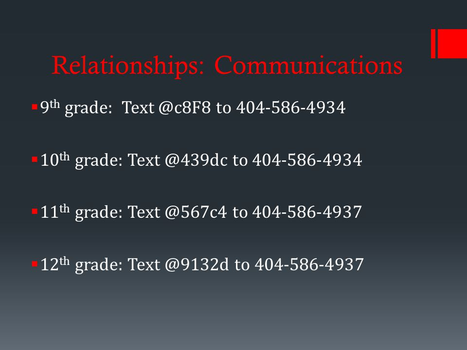 Relationships: Communications  9 th grade: to  10 th grade: to  11 th grade: to  12 th grade: to