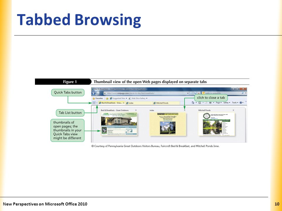 XP Tabbed Browsing 10New Perspectives on Microsoft Office 2010