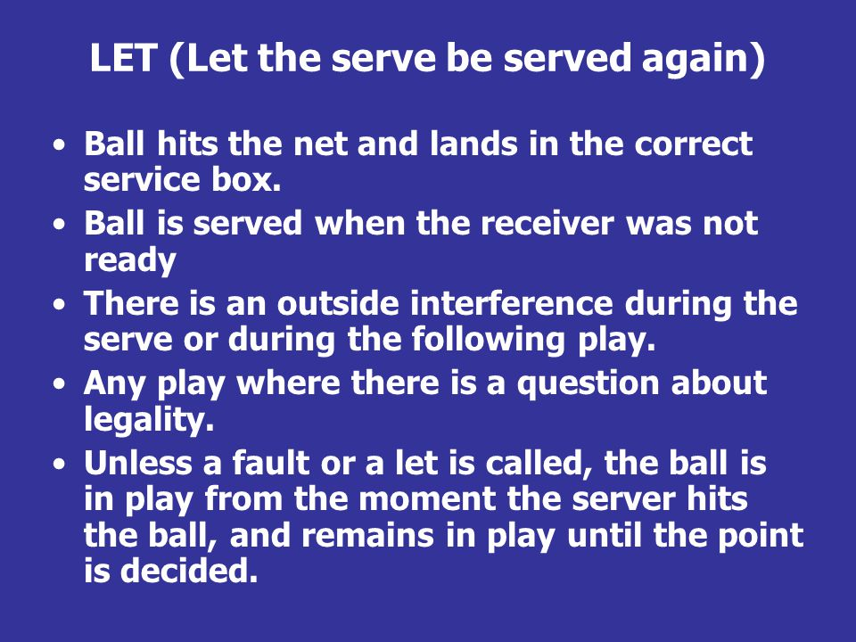 LET (Let the serve be served again) Ball hits the net and lands in the correct service box.