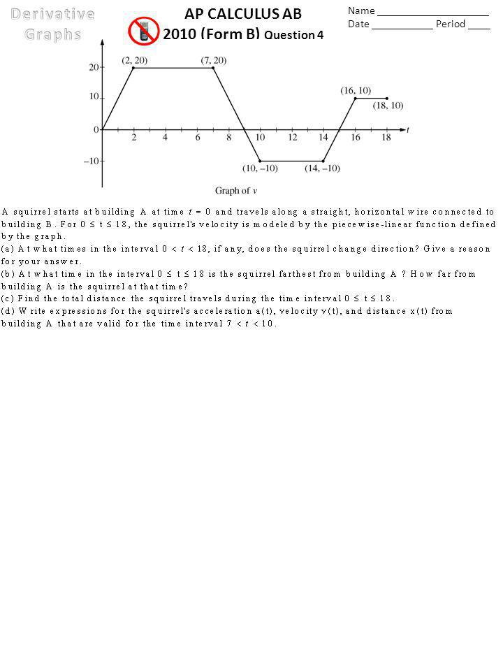 AP CALCULUS AB 2010 (Form B) Question 4 Name ____________________ Date ___________ Period ____