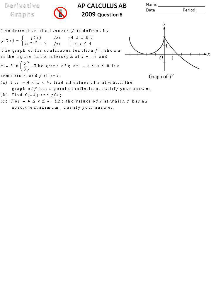AP CALCULUS AB 2009 Question 6 Name ____________________ Date ___________ Period ____