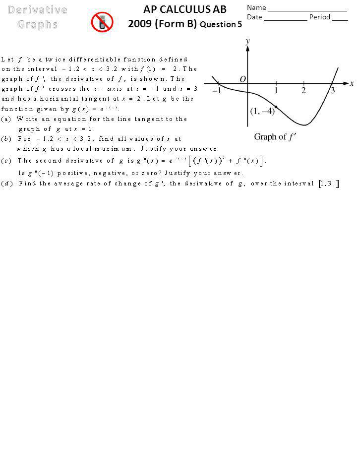 AP CALCULUS AB 2009 (Form B) Question 5 Name ____________________ Date ___________ Period ____