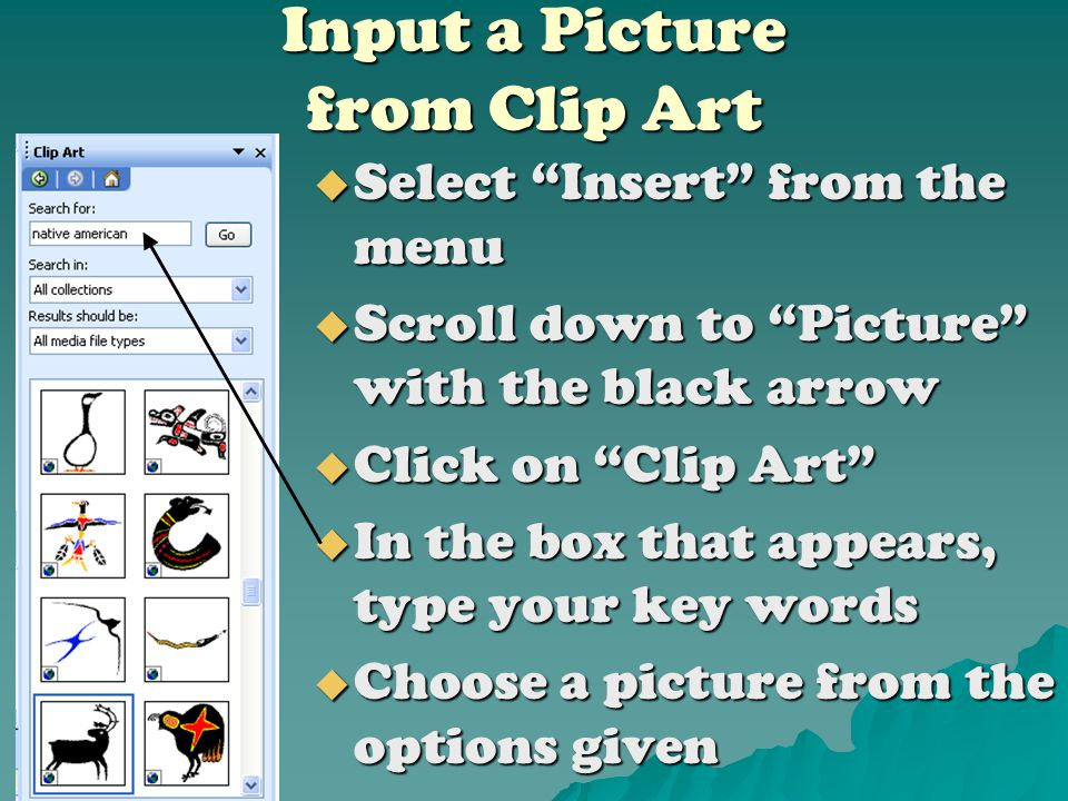 Inputting an Internet Picture  Right click on the picture, select Copy  Go back to your Power-point, right click on your slide and select Paste  Then use the boxes on the diagonals to re-size your picture