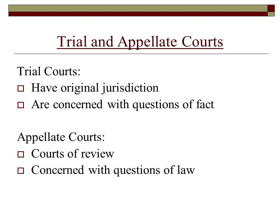 Trial and Appellate Courts Trial Courts:  Have original jurisdiction  Are concerned with questions of fact Appellate Courts:  Courts of review  Concerned with questions of law
