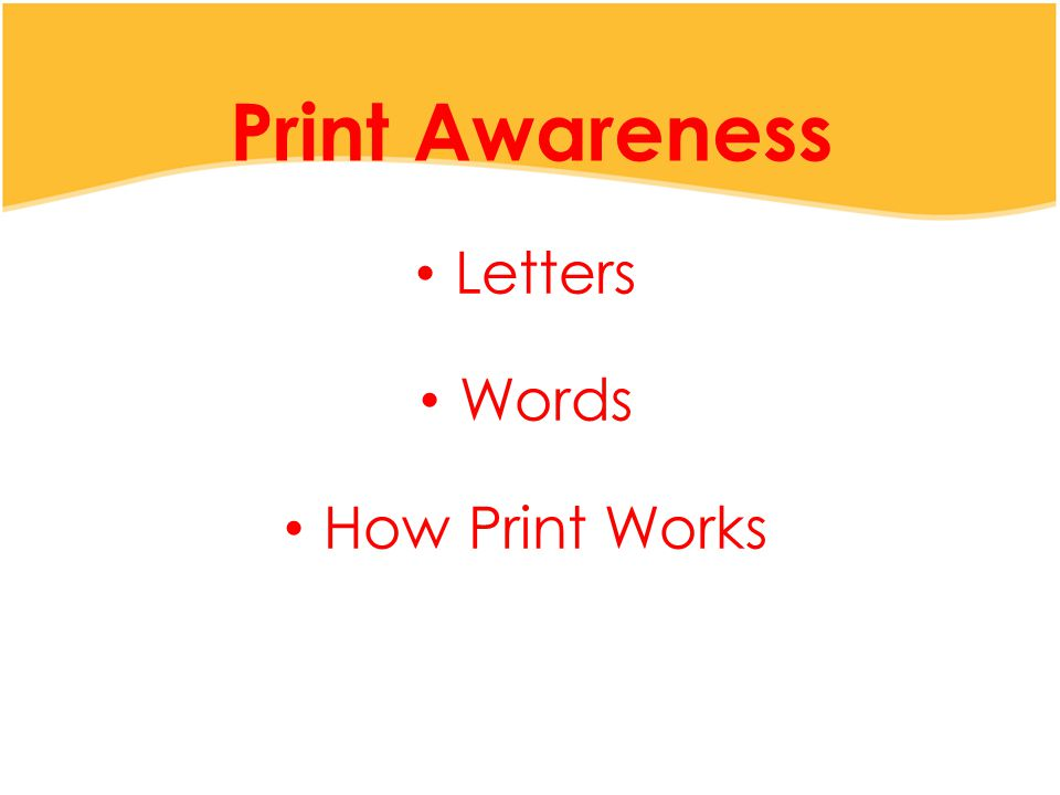 Print Awareness Letters Words How Print Works
