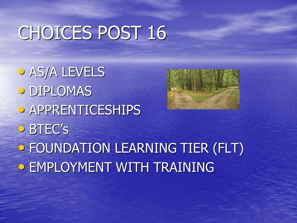 CHOICES POST 16 AS/A LEVELS AS/A LEVELS DIPLOMAS DIPLOMAS APPRENTICESHIPS APPRENTICESHIPS BTEC's BTEC's FOUNDATION LEARNING TIER (FLT) FOUNDATION LEARNING TIER (FLT) EMPLOYMENT WITH TRAINING EMPLOYMENT WITH TRAINING