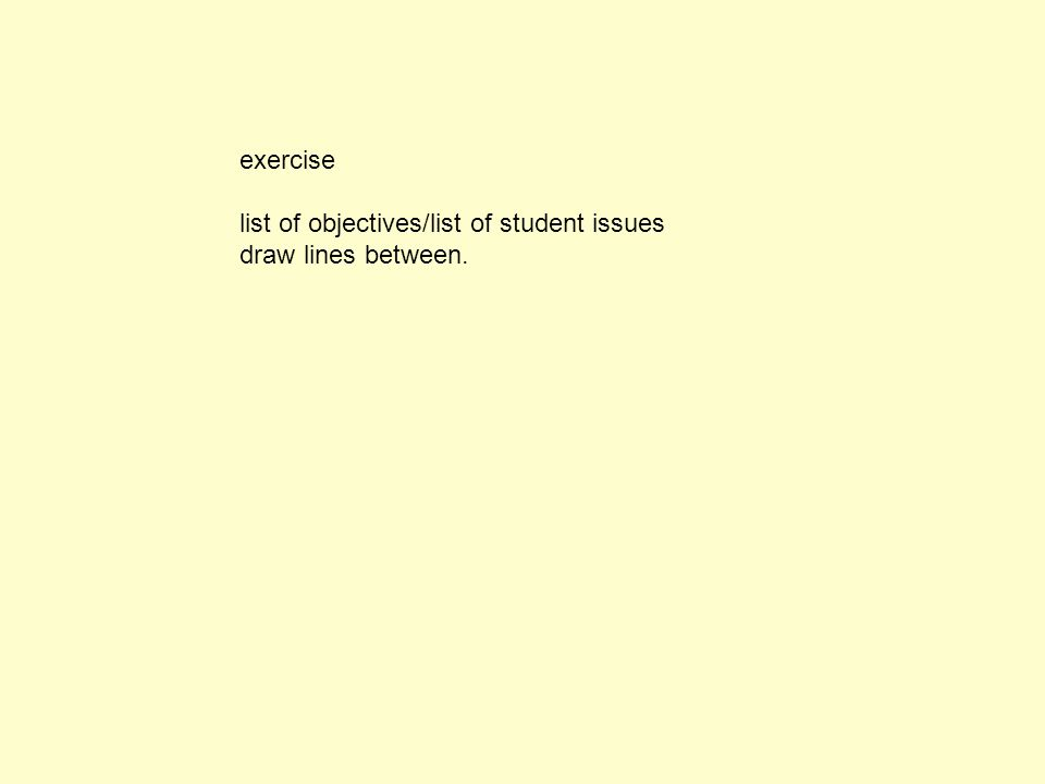 exercise list of objectives/list of student issues draw lines between.