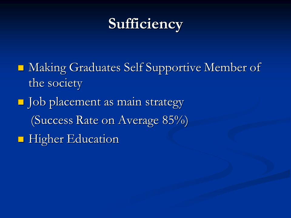 Sufficiency Making Graduates Self Supportive Member of the society Making Graduates Self Supportive Member of the society Job placement as main strategy Job placement as main strategy (Success Rate on Average 85%) (Success Rate on Average 85%) Higher Education Higher Education