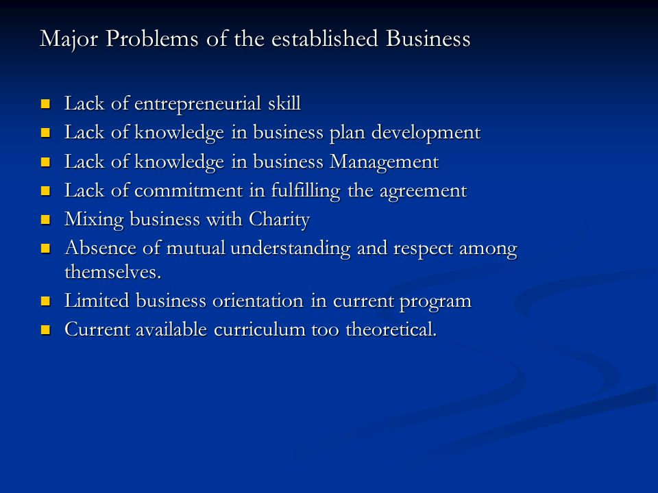 Major Problems of the established Business Lack of entrepreneurial skill Lack of entrepreneurial skill Lack of knowledge in business plan development Lack of knowledge in business plan development Lack of knowledge in business Management Lack of knowledge in business Management Lack of commitment in fulfilling the agreement Lack of commitment in fulfilling the agreement Mixing business with Charity Mixing business with Charity Absence of mutual understanding and respect among themselves.