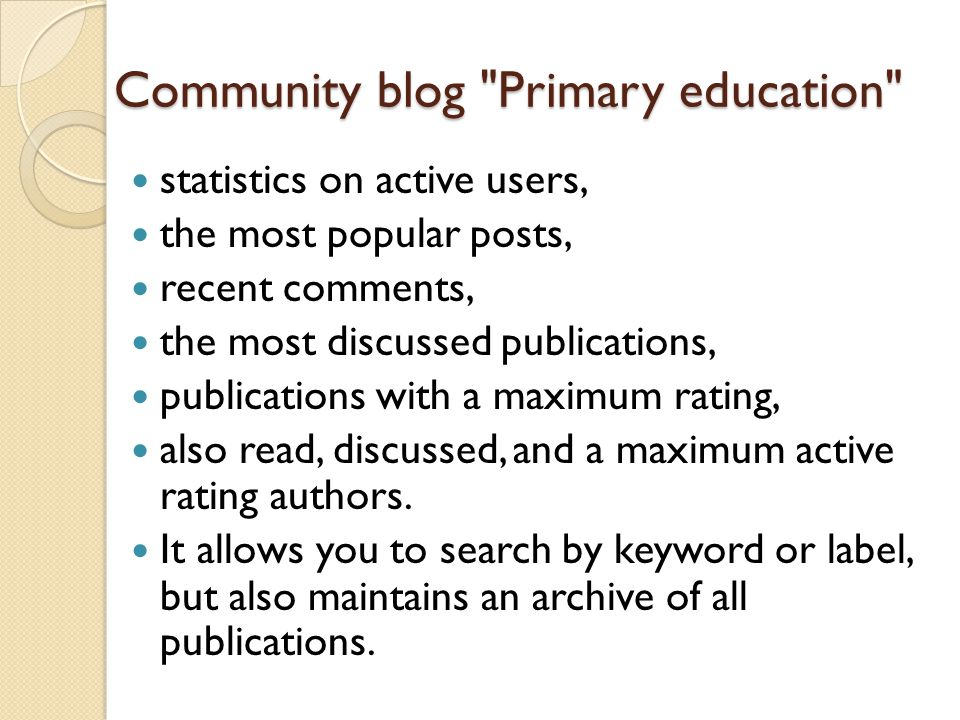 Community blog Primary education statistics on active users, the most popular posts, recent comments, the most discussed publications, publications with a maximum rating, also read, discussed, and a maximum active rating authors.