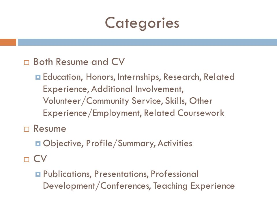 Categories  Both Resume and CV  Education, Honors, Internships, Research, Related Experience, Additional Involvement, Volunteer/Community Service, Skills, Other Experience/Employment, Related Coursework  Resume  Objective, Profile/Summary, Activities  CV  Publications, Presentations, Professional Development/Conferences, Teaching Experience