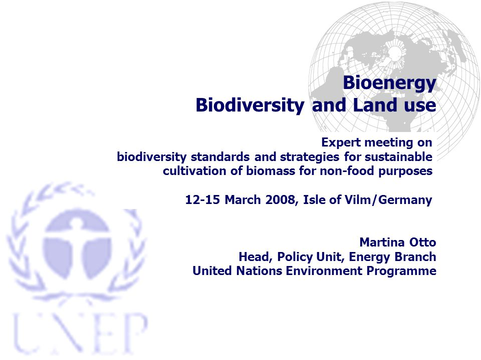 Bioenergy Biodiversity and Land use Expert meeting on biodiversity standards and strategies for sustainable cultivation of biomass for non-food purposes March 2008, Isle of Vilm/Germany Martina Otto Head, Policy Unit, Energy Branch United Nations Environment Programme
