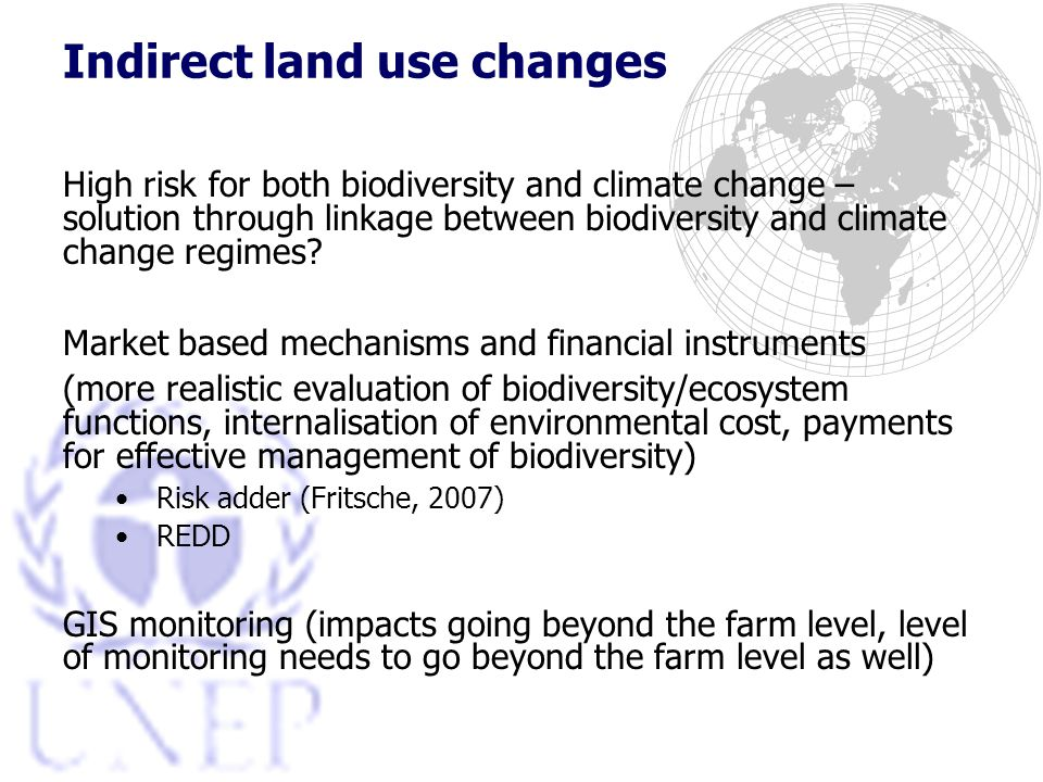 Indirect land use changes High risk for both biodiversity and climate change – solution through linkage between biodiversity and climate change regimes.