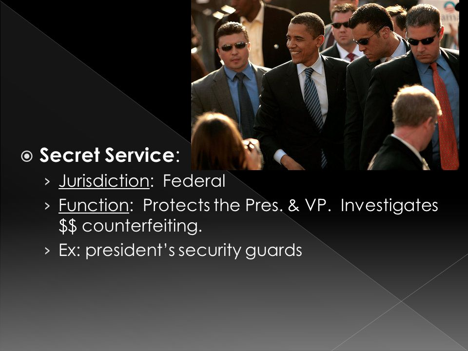  Secret Service : › Jurisdiction: Federal › Function: Protects the Pres.