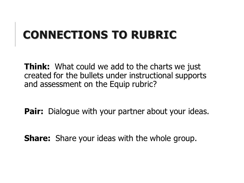 CONNECTIONS TO RUBRIC Think: What could we add to the charts we just created for the bullets under instructional supports and assessment on the Equip rubric.