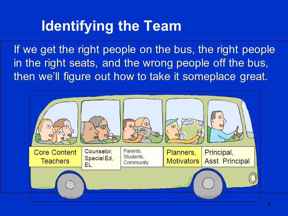 If we get the right people on the bus, the right people in the right seats, and the wrong people off the bus, then we'll figure out how to take it someplace great.