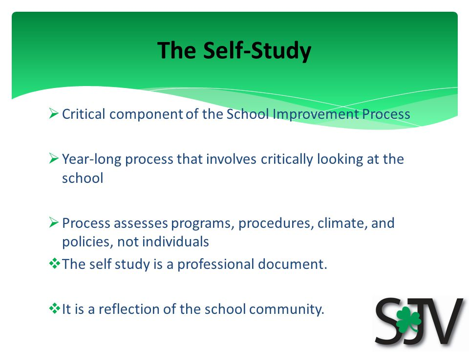  Critical component of the School Improvement Process  Year-long process that involves critically looking at the school  Process assesses programs, procedures, climate, and policies, not individuals  The self study is a professional document.
