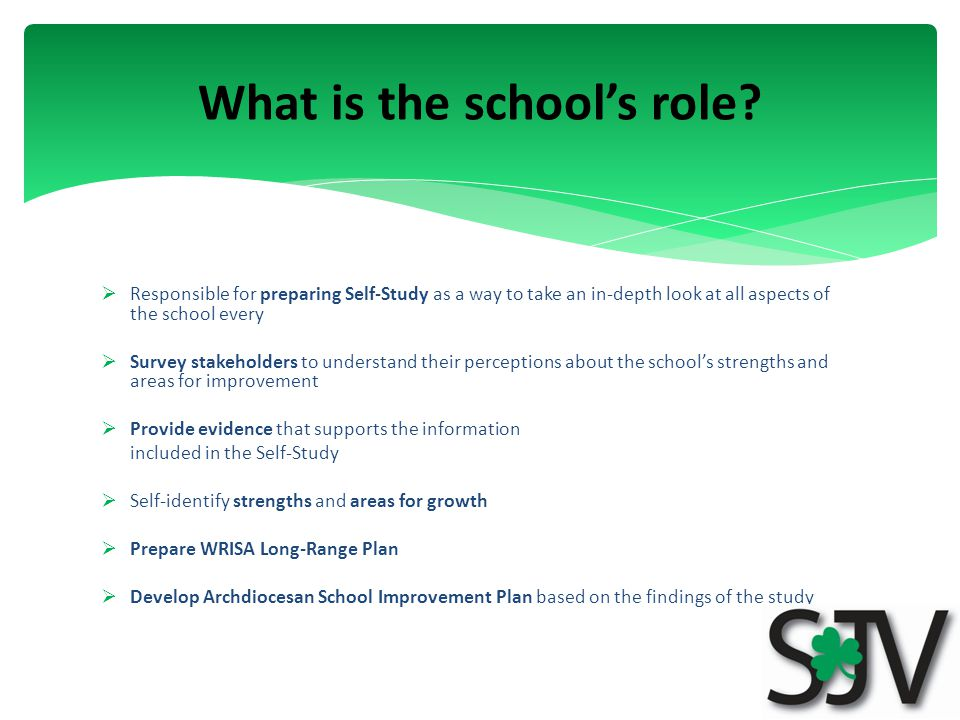  Responsible for preparing Self-Study as a way to take an in-depth look at all aspects of the school every  Survey stakeholders to understand their perceptions about the school's strengths and areas for improvement  Provide evidence that supports the information included in the Self-Study  Self-identify strengths and areas for growth  Prepare WRISA Long-Range Plan  Develop Archdiocesan School Improvement Plan based on the findings of the study What is the school's role
