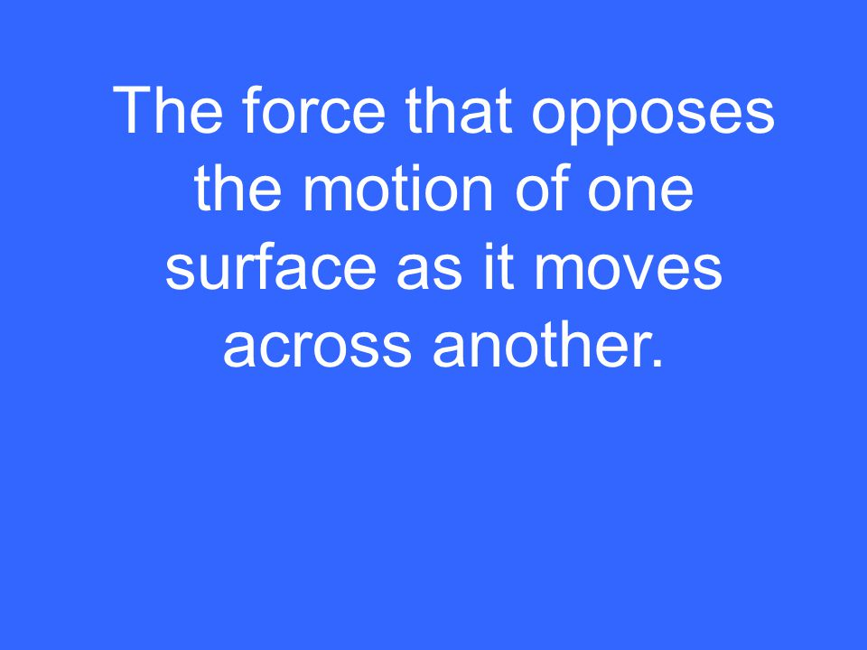 The force that opposes the motion of one surface as it moves across another.