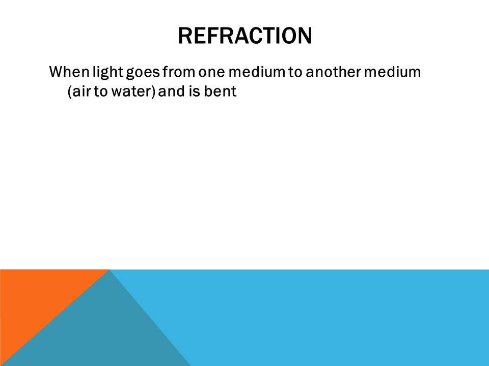 REFRACTION When light goes from one medium to another medium (air to water) and is bent