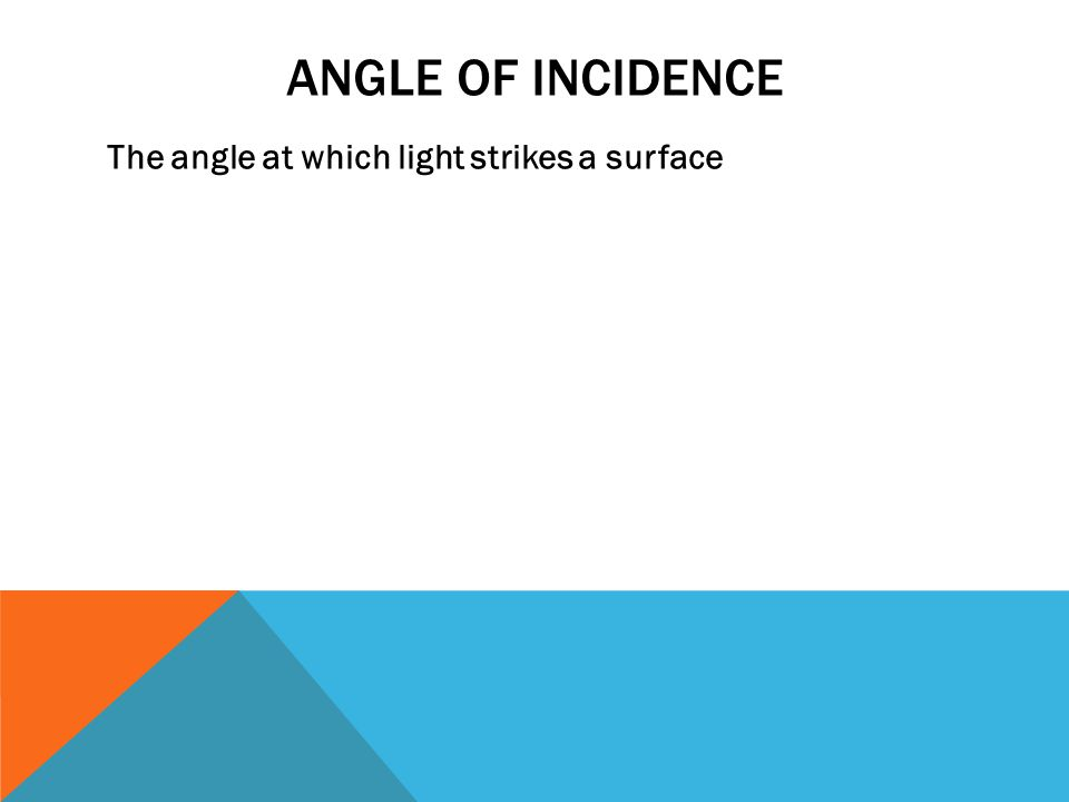 ANGLE OF INCIDENCE The angle at which light strikes a surface
