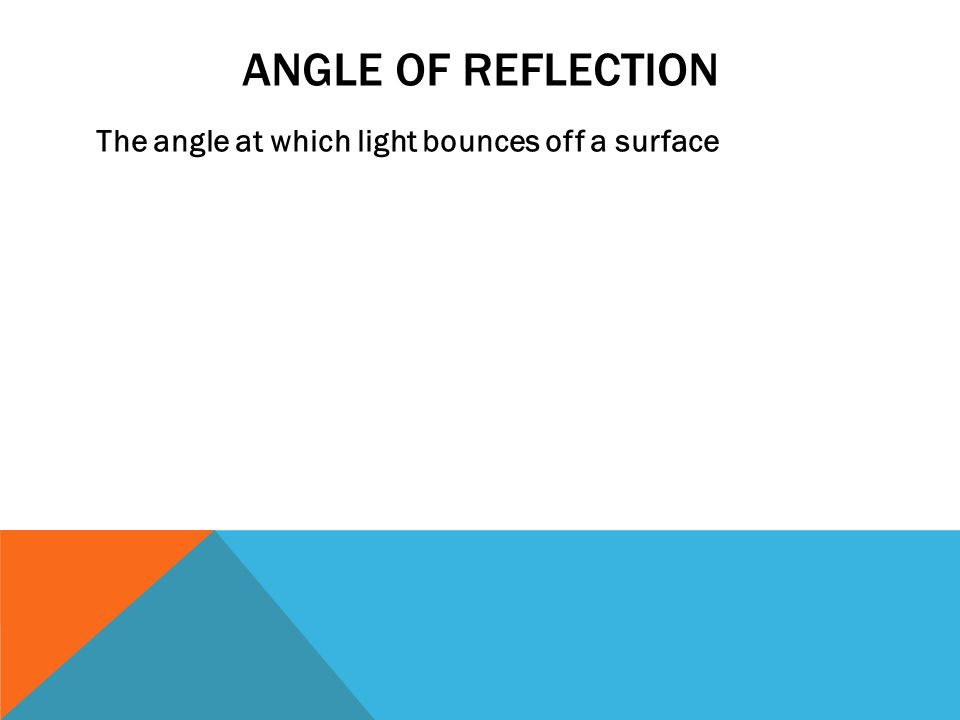 ANGLE OF REFLECTION The angle at which light bounces off a surface