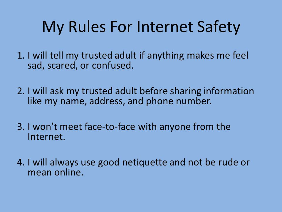 My Rules For Internet Safety 1.I will tell my trusted adult if anything makes me feel sad, scared, or confused.