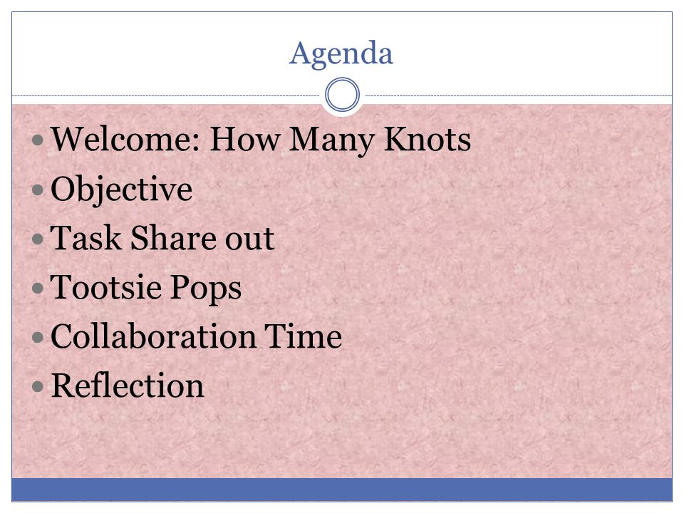 Agenda Welcome: How Many Knots Objective Task Share out Tootsie Pops Collaboration Time Reflection