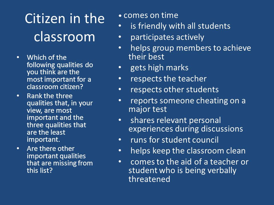 Citizen in the classroom Which of the following qualities do you think are the most important for a classroom citizen.
